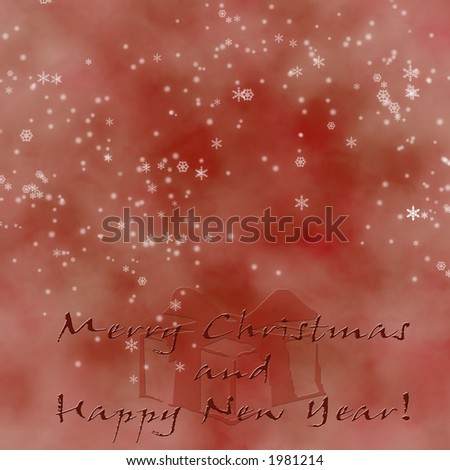 Red Christmas Greeting with snowflakes and copy-space. - stock photo