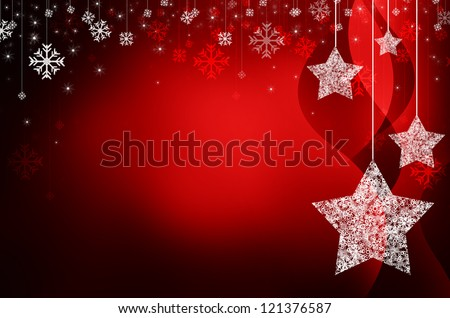 red christmas new year background - stock photo