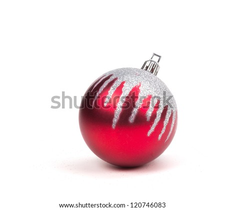Red Christmas Ornament Ball on White. - stock photo
