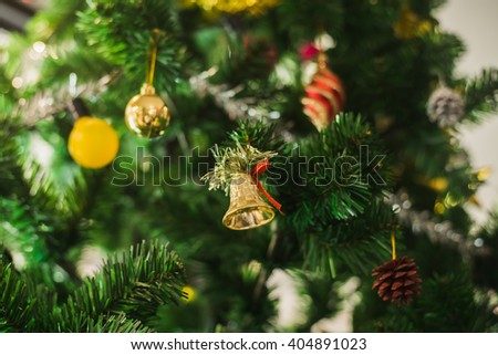 Red Christmas ornament hanging - stock photo