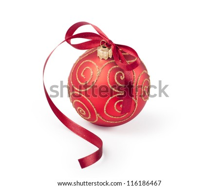 Red christmas ornament with bow - stock photo
