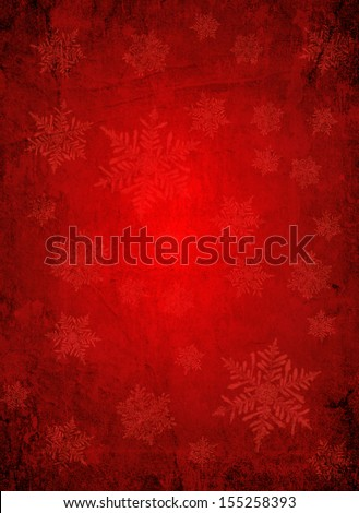 Red christmas paper background with white snow flakes - stock photo
