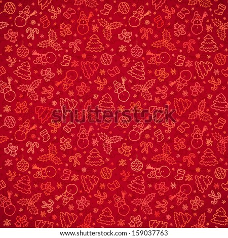 Red Christmas paper doodle seamless pattern - stock photo