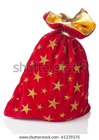 red christmas sack isolated - stock photo