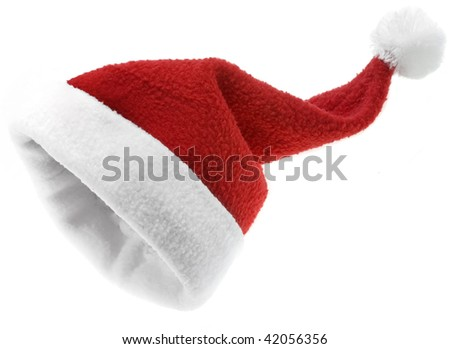 Red Christmas Santa Claus hat isolated on white background - stock photo