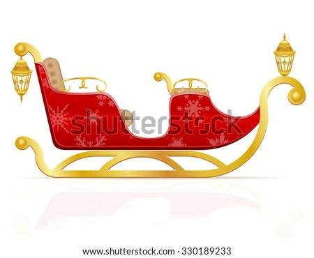 red christmas sleigh of santa claus illustration isolated on white background - stock photo