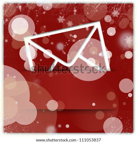Red christmas style message icon and background - stock photo