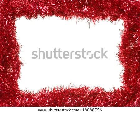 Red Christmas tinsel garland, forming a rectangular frame with center copy space, isolated on white background (isolation done in-camera) - stock photo