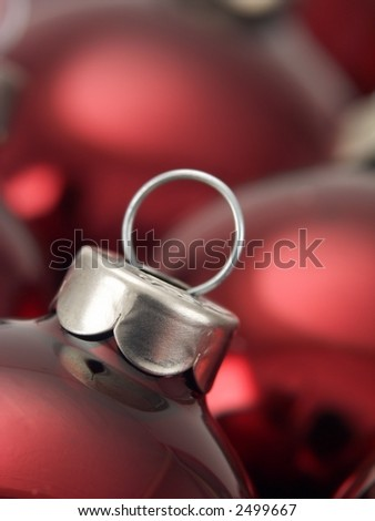 Red Christmas tree bulb ornaments. - stock photo