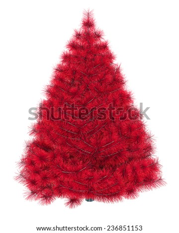 Red christmas tree isolated on white background  - stock photo