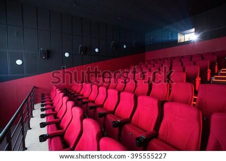 Red cinema empty hall - stock photo