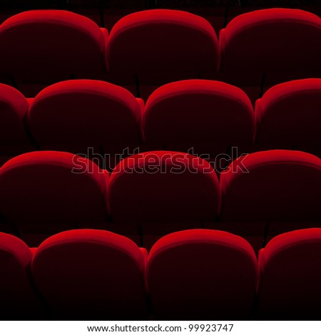 red cinema or theater empty seats - stock photo