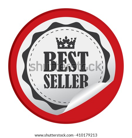 Red Circle Best Seller - Product Label, Campaign Promotion Infographics Flat Icon, Peeling Sticker, Sign Isolated on White Background  - stock photo