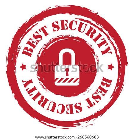 Red Circle Grungy Best Security Stamp, Sticker, Icon or Label Isolated on White Background  - stock photo
