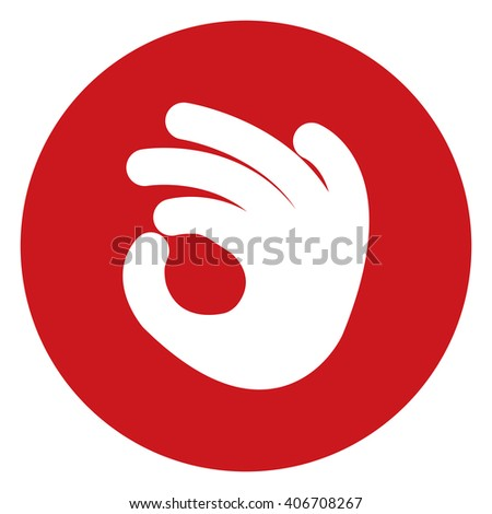 Red Circle Hand OK Infographics Flat Icon, Sign Isolated on White Background - stock photo