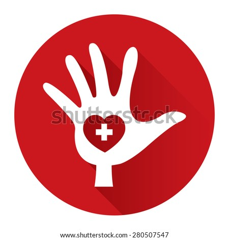 Red Circle Hand With Heart, Charity, Volunteer Flat Long Shadow Style Icon, Label, Sticker, Sign or Banner Isolated on White Background - stock photo
