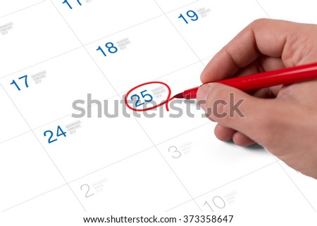 Red circle. Mark on the calendar at February 25, 2016 - stock photo