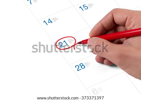Red circle. Mark on the calendar at February 21, 2016 - stock photo