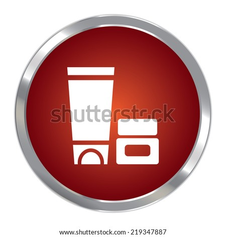 Red Circle Metallic Cosmetic Container Icon or Button Isolated on White Background  - stock photo