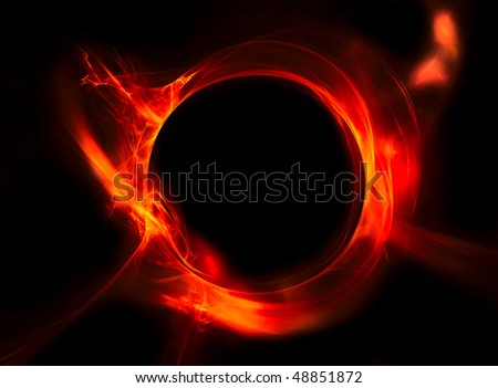 Red circle of fire - stock photo
