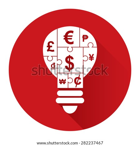 Red Circle Various Currency Sign Puzzle in Light Bulb Flat Long Shadow Style Icon, Label, Sticker, Sign or Banner Isolated on White Background - stock photo