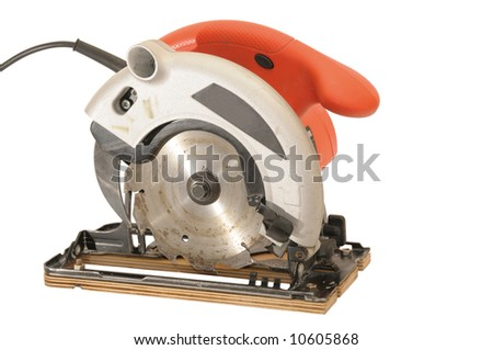 red circular saw with clipping path - stock photo