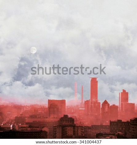 Red city skyline with cloudy sky and full moon. Concept of global warming. - stock photo