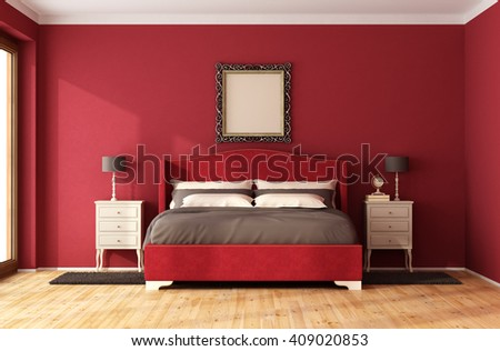 Red Classic Bedroom with elegant bed and nightstand - 3D Rendering - stock photo