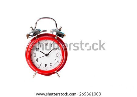 Red classic metal clock isolated on white background - stock photo