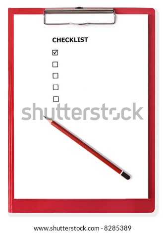 Red clipboard with blank checklist. - stock photo