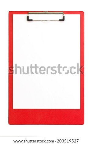 Red clipboard with paper sheets - isolated - stock photo