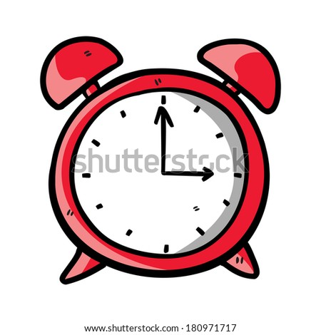 red clock doodle - stock photo