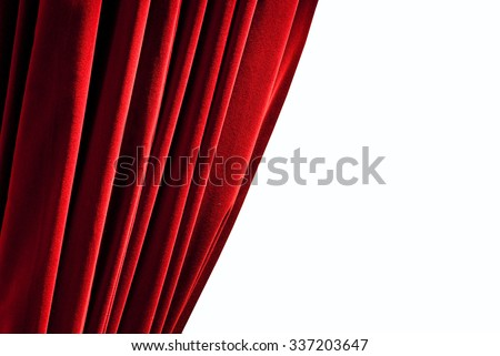 Red closed curtain - isolated - stock photo
