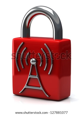 Red closed padlock with wireless icon, 3d - stock photo