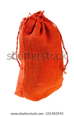 Red Cloth bag with drawstrings. Isolated on white background - stock photo