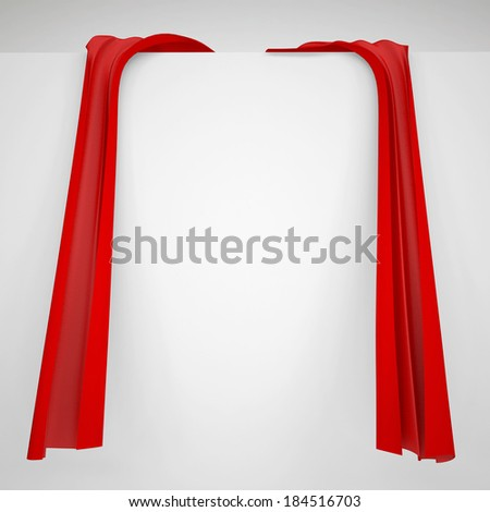 Red cloth on a white wall. Fabric with folds and bends - stock photo
