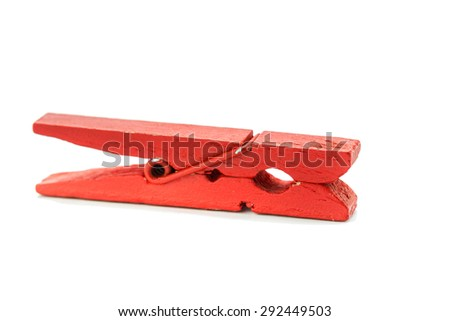 Red clothespin, isolated on white background - stock photo