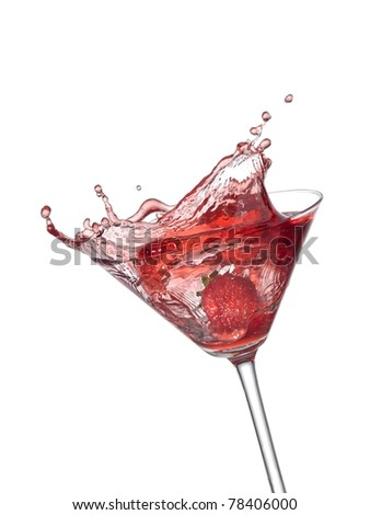 Red cocktail with a strawberry splash - stock photo