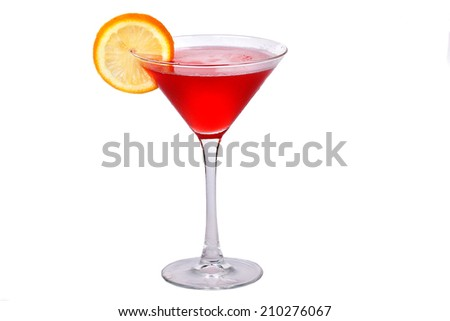 red cocktail with orange on white background - stock photo