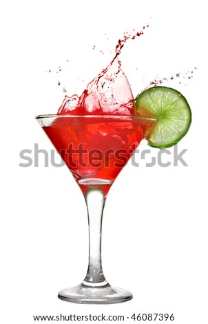 Red cocktail with splash and lime isolated on white - stock photo