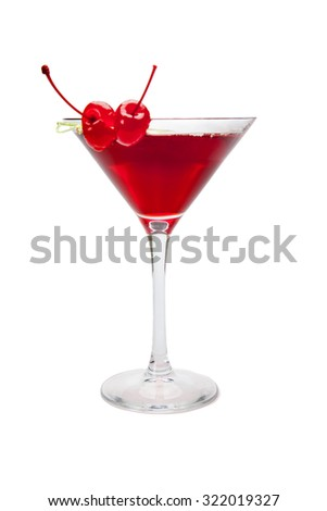 Red cocktail with two cherries. Isolated on white with clipping path - stock photo