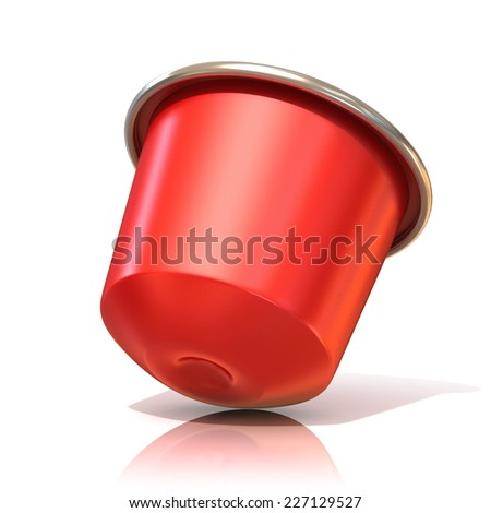 Red coffee capsule. 3D render, isolated on white background. Side view - stock photo
