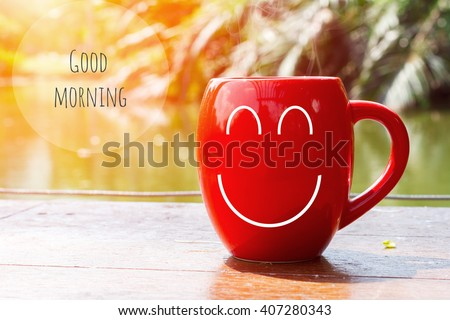 red coffee cup empty front porch the morning. Good morning or Have a happy day message concept - stock photo
