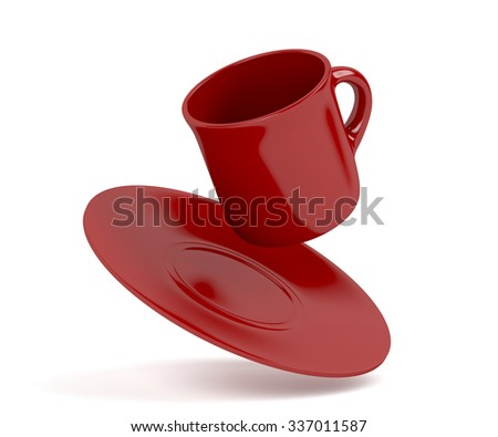 Red coffee cup falling on white background - stock photo