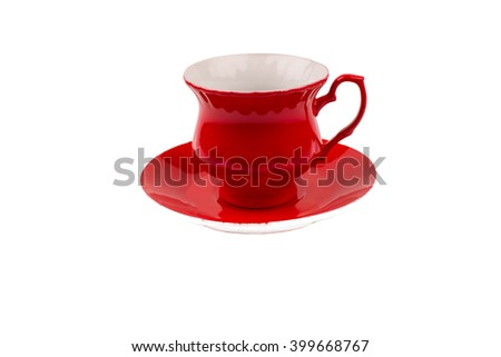 red coffee cup with hot coffee isolated on white background - stock photo