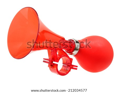Red color bicycle air horn isolated on white.   - stock photo