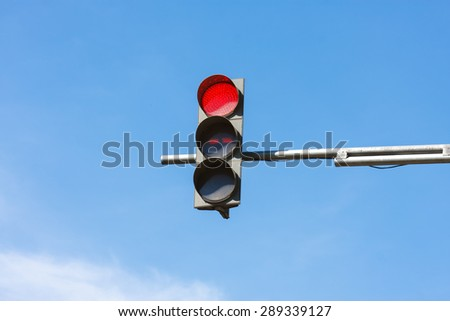 Red color on the traffic light - stock photo