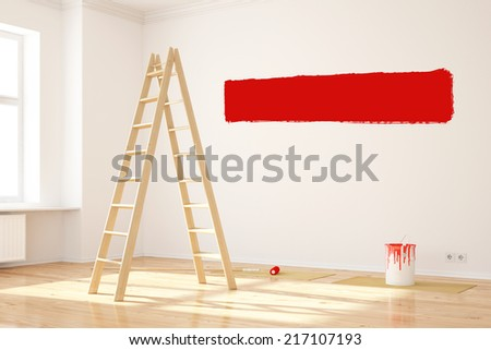 Red color on wall during renovation in empty room with ladder - stock photo