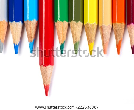 Red Color Pencil Stand Out Other - stock photo