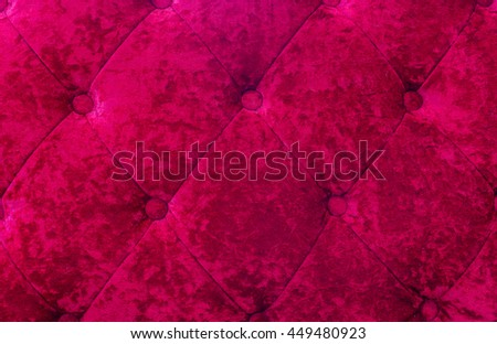 Red Color Velvet texture from sofa - stock photo